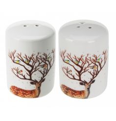 A salt and pepper set with woodland reindeer design. A table essential for the festive season.