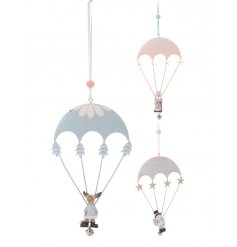 A mix of 3 pastel coloured hot air balloon decorations with reindeer, santa and snowman.