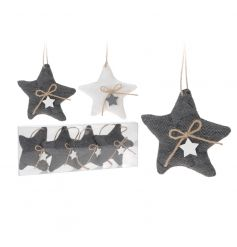 2 assorted packs of fabric star decorations each with a mini wooden star and hessian bow.