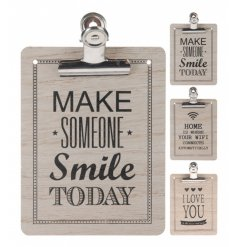3 assorted slogan memo boards with clip. A stylish home accessory perfect for office and kitchen use.