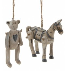 Charming bear and horse jointed bear and horse decorations with an antique finish.