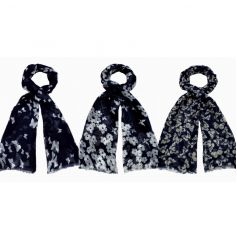 A fabric scarf mix in an assortment of three with butterfly design