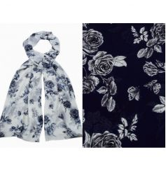 Pretty rose design on an assortment of two fabric scarves