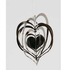 A chic silver heart spinning decoration. A gorgeous addition to any festive display.