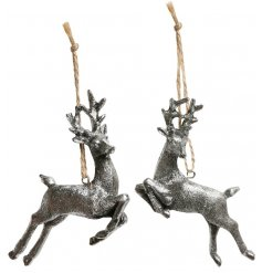 An assortment of 2 antique style reindeer decorations in a prancing pose. Complete with rustic string hangers.