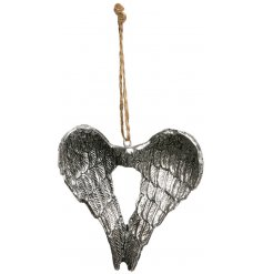 A beautiful antique inspired angel wings decoration with rustic jute hanger.