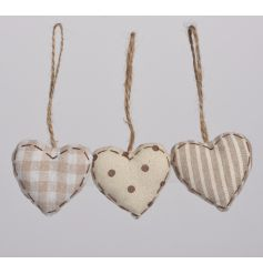 An assortment of 3 shabby chic style hearts in stripe, polka dot and check designs.