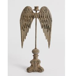 Create an impact with this stunning grey stone candle stick holder with magnificent wings.
