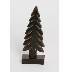 A chunky wooden dark brown tree ornament. A stylish decoration for the home this season.