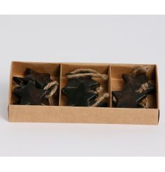 A pack of chunky wooden dark brown stars with jute string hanger. Displayed in a kraft gift box.
