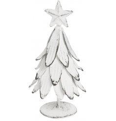 Antique white metal christmas tree