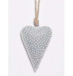 Grey Polka Dot Hanging Heart