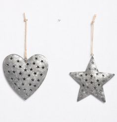 A mix of 2 rustic silver decorations in star and heart designs with pretty star details.