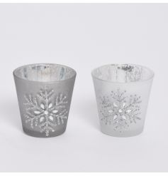 Chic glass t-light holders, each with a sparkle snowflake design.