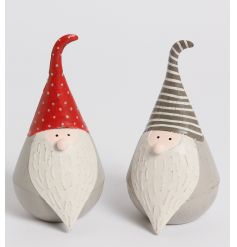 Mix of 2 sitting santa gonks, grey and red