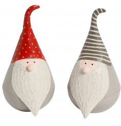 An assortment of 2 jolly Santa ornaments in red and grey colours. Adorable and unique decorations for the festive season