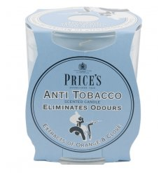 A glass candle jar with Anti Tobacco odour eliminating candle