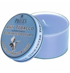 An anti tobacco odour eliminating candle in a tin