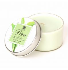 Green Tea scented candle inside a Prices tin