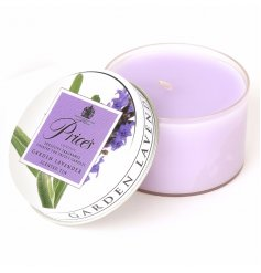 Garden lavender scented candle inside a Prices tin