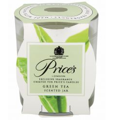 A glass candle pot from the Prices collection with Green Tea scent