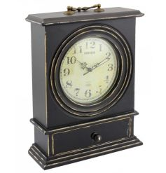 Large black clock with a vintage and antique design