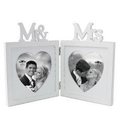 Mr & Mrs cutout folding frame in a classic white colour