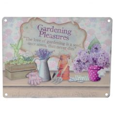 A vintage style metal sign with gardening slogan and pretty illustrations.