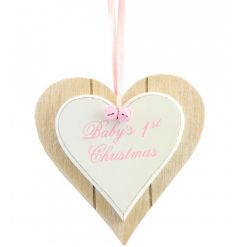 A double heart plaque with pink bells and ribbon, complete with a 1st Christmas slogan.