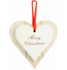 Wooden heart with Merry Christmas text