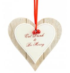 Wooden double heart sign with slogan and red ribbon