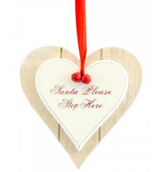 Wooden double heart Christmas signs with red ribbon