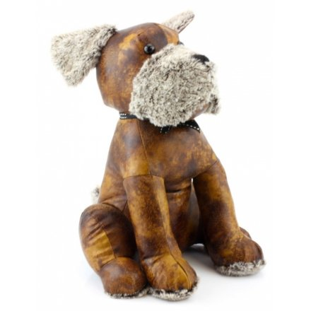 Sitting Dog Faux Leather Doorstop