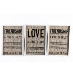 3 assorted wall signs
