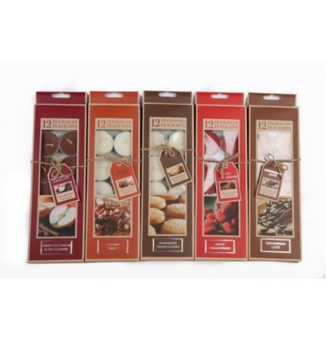 An assortment of 6 gift boxed t-lights. Six natural festive scents and colours.