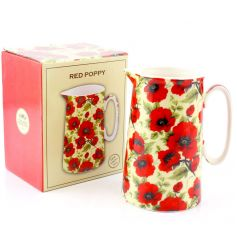 An attractive and beautifully gift boxed ceramic jug with classic red poppy design.