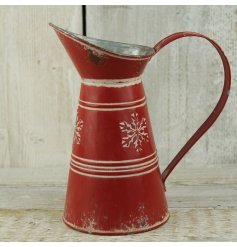 Red Jug With Snowflake Design