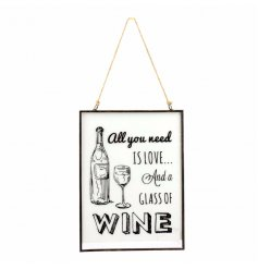 Wine Metal Hanging Plaque