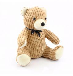 Beige Corduroy Teddy Bear Doorstop