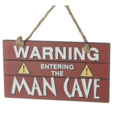 Wooden hanging man cave sign