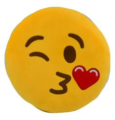 A fun and playful emoji cushion in the popular blowing kisses design.