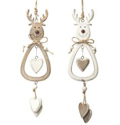 2 assorted wooden hanging reindeers