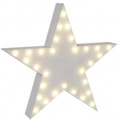 White wooden star with LED bulbs