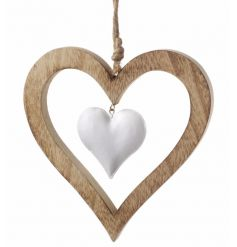wooden hanging heart with dangling white heart inside