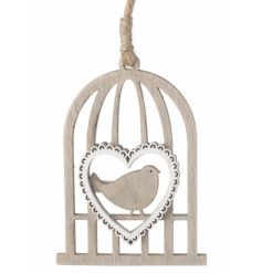 hanging wooden birdcage with a white heart