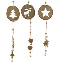 Tree, Star and Reindeer design decorations with beads and bells.