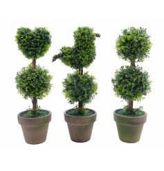 A mix of 3 well styled boxwood trees in planters. A chic home accessory in bird, wreath and heart designs.