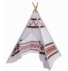 Create your own adventures with this stylish tepee play tent with bamboo poles.