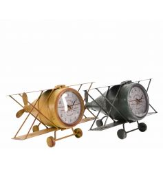 An assortment of 2 antique style iron airplane models with clocks. A unique gift item and home accessory