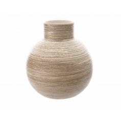 Add a stylish touch to the home with this ceramic vase with glazed metallic lines.